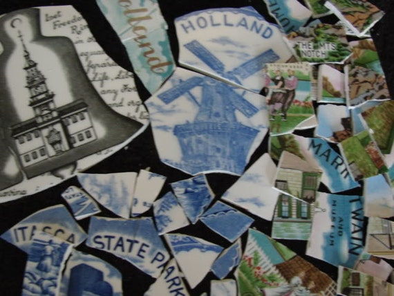 Mosaic Tiles Vintage Collector State Plate Pieces