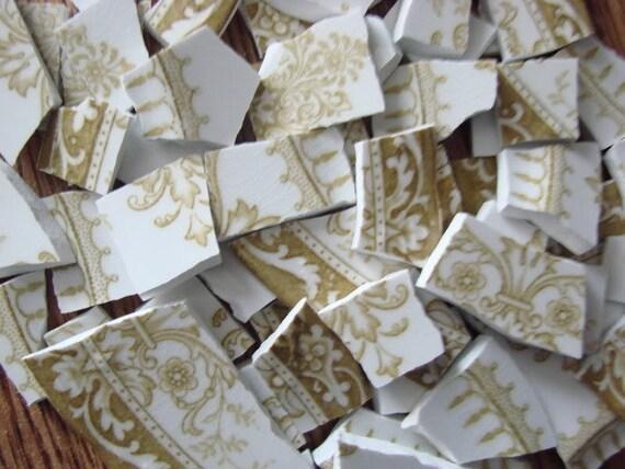 Mosaic Tiles Vintage Light Brown Transferware Toile Plate Pieces
