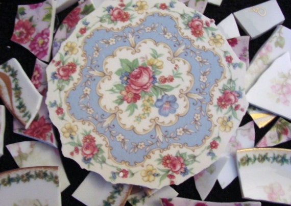 Mosaic Tiles Vintage Pink Flower Rose Limoges Focal Plate Border Flower Pieces