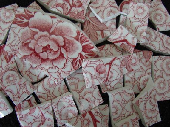 Vintage Red Pink Lotus Transferware Vintage China Filler Mosaic Tile Pieces