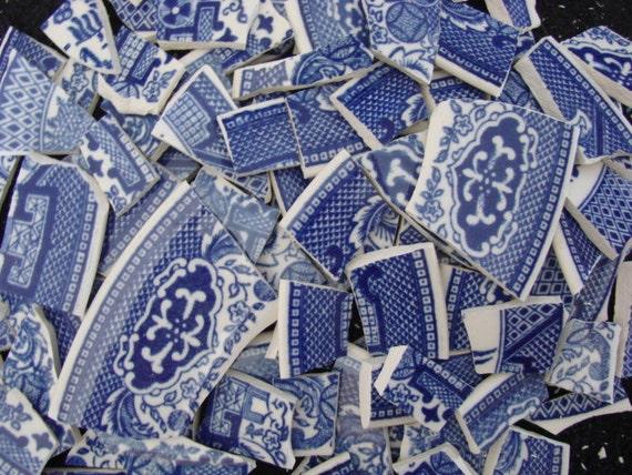 Vintage Blue Willow Transferware Vintage China Filler Mosaic Tile Pieces