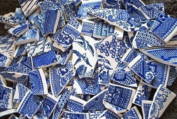 Mosaic Tiles Asian Bird Blue Willow Vintage Broken Plate