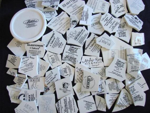 Mosaic Tiles Backstamp Words Maker Marks Broken Plate