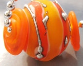 Orange Stripes - Necklace with Lampwork
