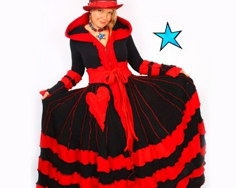 Recycled Sweater Coat  by Katwise - TUTORIAL - Red and Black Queen of Hearts