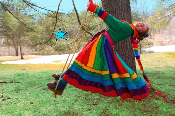 Dream Coat by Katwise -Upcycled Sweater TUTORIAL - Rainbow Gypsy Elf Coat