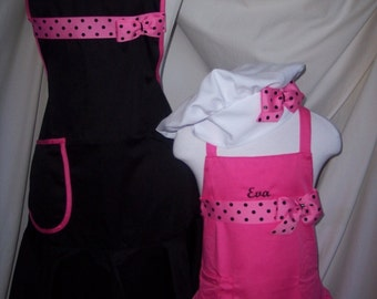Mommy and me apron set  ruffled hem   personalized  w/child chef hat 3pcs