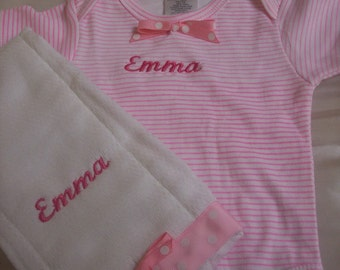 Girls Personalized Onesie with Matching Burp cloth