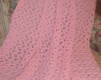 HAND CROCHETED Decorative Afghan Throw in Pretty Baby Pink