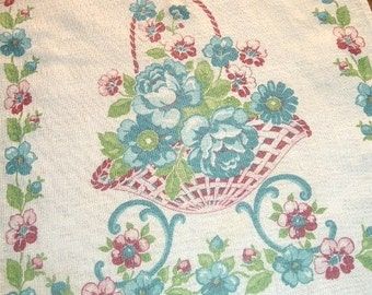 VINTAGE KITCHEN TEA TOWEL PRETTY FLOWER BASKETS BLUE MAROON