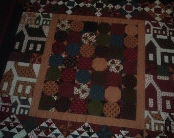 Homey Houses and SnowBalls Quilt Moda Stars and Coxcombs Line  62 x 68 inches