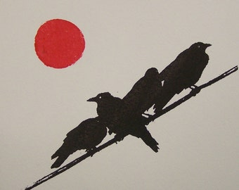 Black Crow Gocco Screen Print signed and numbered