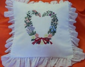 Embroidered Floral Heart Wreath Pillow Cover