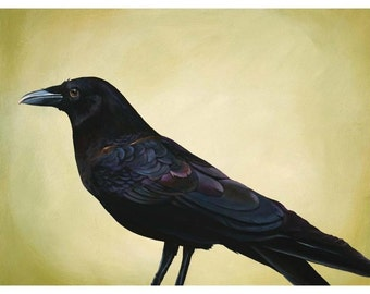 Keen-Brained And Patient 18 x 24 Art Print - Bird - Crow - Raven - Corvid - Limited Edition - Gift - Animal - Nature