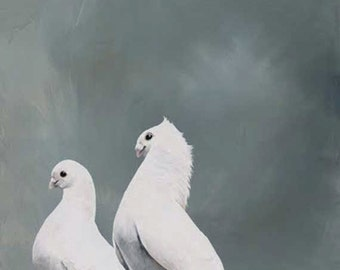 Unsatisfied With Any Reaction Short Of Breathless Amazement 12 x 12 Art Print - Bird - Pair - Giclee - Doves - Nature - Gift