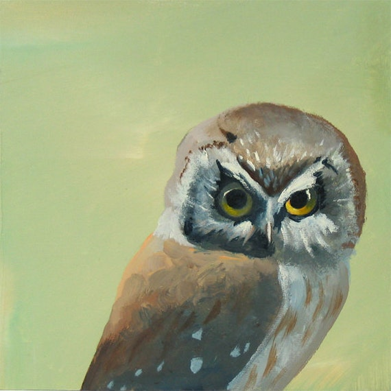 Another Night, Another Bout Of Sickening Yet Exhilarating Butchery 8 x 8 Art Print - Owl - Bird - Animal - Nature - Gift