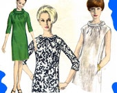 PATTERN VOGUE vintage 1960s mod Mad Men chic romantic dress high collar bow or button 32 bust 34 hip size US
