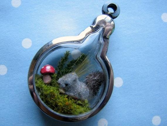 tiny squirrel diorama pendant