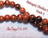 Mahogany Obsidian Gemstone,6mm Full Strand 7inch, Holiday Sale