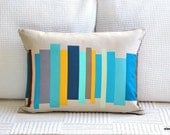 Decorative Pillow Cover - 12 x 16 inch - Teal Volumes on Desert Sand