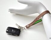 Keychain Bracelet \/ Key Fob - Forest Faux Bois