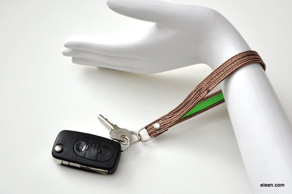 Keychain Bracelet \/ Wristlet Key Fob - Forest Faux Bois