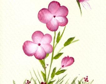 Pink Five Petal Flower - Print Set of 8 Notecards