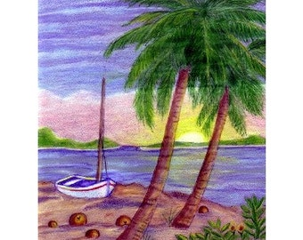 Sunset Tropical Palm Note Card Art Colored Pencil