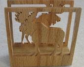 Oak Moose Napkin Holder