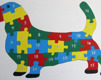 Children's Wood Dog Number Puzzle