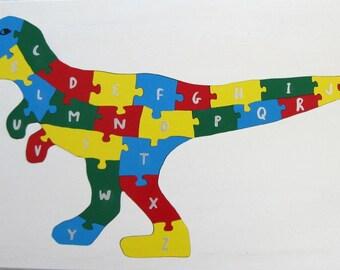 Children's Wood Tyrannosaurus Rex Alphabet Puzzle