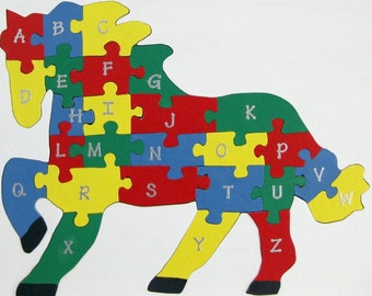 Children's Wood Horse Alphabet Puzzle