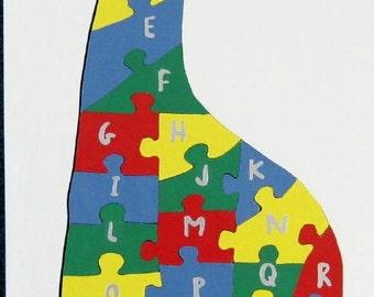 Children's Wood Giraffe Alphabet Puzzle