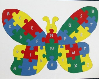Children's Wood Butterfly Alphabet Puzzle