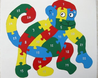 Children's Wood Monkey Number Puzzle