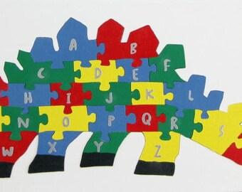Children's Wood Dinosaur Alphabet Puzzle