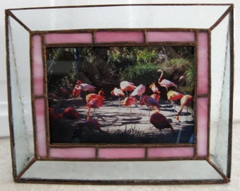 Stained Glass Picture Frame, Pink Border