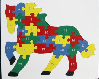 Children's Wood Horse Number Puzzle