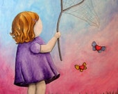 Catching Innocence - 8x10 Art Print - Little Girl Catching Butterflies and Hearts - Art by Marcia Furman