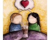 Two Become One-  8x10 Art Print - Couple in Love Enjoying Milkshake