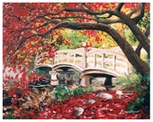 Japanese Bridge - 8x10 Art Print - Red Autumn Leaves and Bridge - Art by Marcia Furman