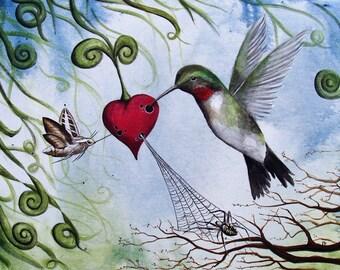 Nectar of the Heart - 8x10 Art Print - Whimsical Hummingbird Sucking Nectar From A Heart - Art by Marcia Furman