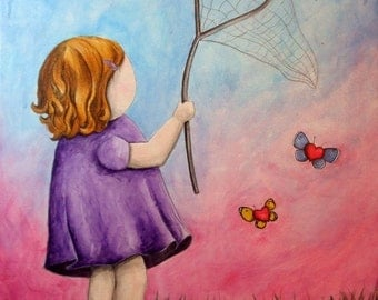 Catching Innocence - 8x10 Art Print - Little Girl Catching Butterflies and Hearts - Art by Marcia Furman