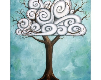 Swirly Tree - 8x10 Art Print  - Whimsical Tree with Swirly Clouds in the Branches - Art by Marcia Furman