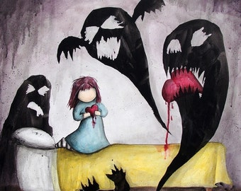 Doubts, They Get The Best Of Me - 8x10 Art Print - Little Girl with Monsters in Bedroom Eating Heart - Art by Marcia Furman