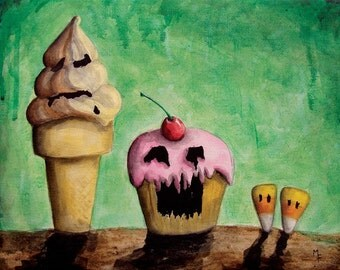Those Evil Sweets 'n Treats - 8x10 Art Print - Monster Ice Cream, Cupcake and Candy Corn - Art by Marcia Furman