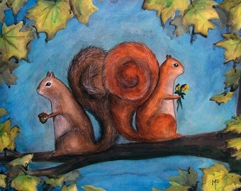A Place for Secrets Shared - 8x10 Art Print - Squirrel Couple Romance - Art by Marcia Furman