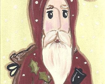 ACEO Christmas Santa Painting ooak art