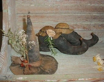 Primitive Witch Hat and Shoes E-PATTERN folk art