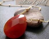 RESERVED for H . droplet . terra cotta . carnelian gemstone drop necklace . GOLD FILLED
